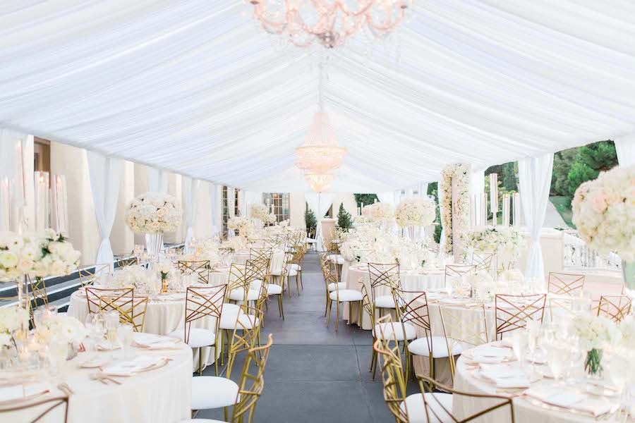 Glam White Orange County Wedding