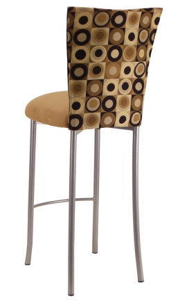 Concentric Circle Barstool Cover with Camel Suede Cushion on Silver Legs (1)