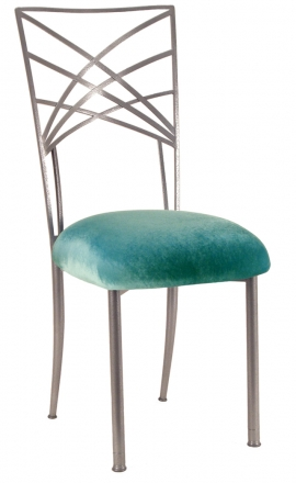 Silver Fanfare with Turquoise Velvet Cushion (2)