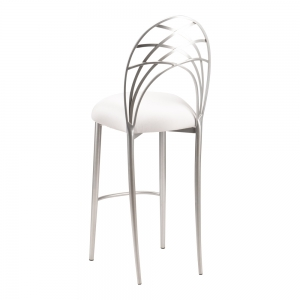 Silver Piazza Barstool with White Stretch Knit Cushion (1)