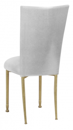 Metallic Silver Stretch Knit Chair Cover and Cushion on Gold Legs (1)
