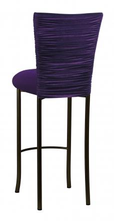 Eggplant Velvet Chloe Barstool Cover and Cushion on Brown Legs (1)