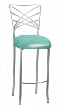 Silver Fanfare Barstool with Mermaid Knit Cushion (2)