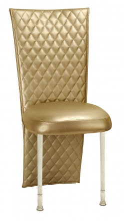 Gold Quilted Leatherette Jacket and Boxed Cushion on Ivory Legs (2)