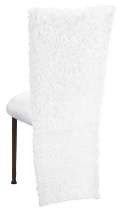 White Wedding Lace Jacket with White Stretch Knit Cushion on Mahogany Legs (1)