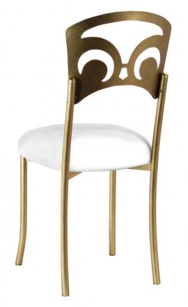Gold Fleur de Lis with White Leatherette Cushion (1)