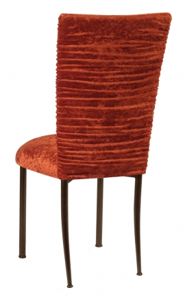 Chloe Paprika Crushed Velvet Chair Cover and Cushion on Brown Legs (1)