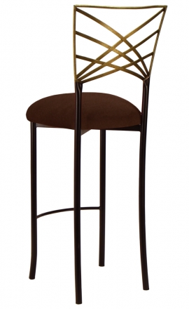 Two Tone Gold Fanfare Barstool with Chocolate Suede Cushion (1)
