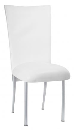White Tiered Leatherette Chair Cover and Cushion on Silver Legs (2)