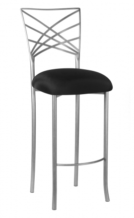 Silver Fanfare Barstool with Black Stretch Knit Cushion (2)