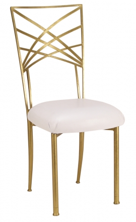 Gold Fanfare with White Suede Cushion (2)