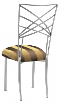 Silver Fanfare with Gold and Brown Stripe Cushion (1)