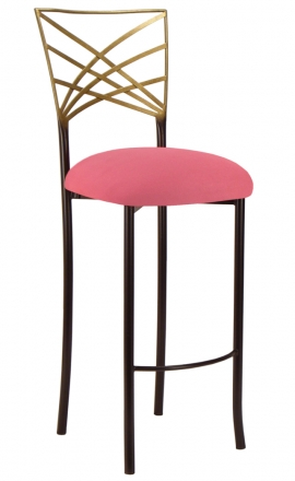 Two Tone Gold Fanfare Barstool with Raspberry Suede Cushion (2)