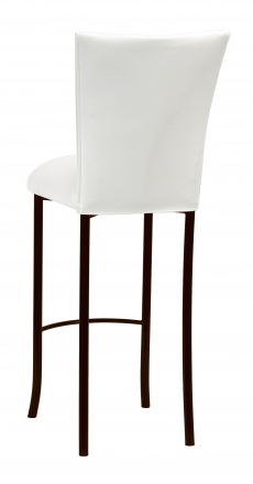 White Leatherette Barstool Cover and Cushion on Brown Legs (1)