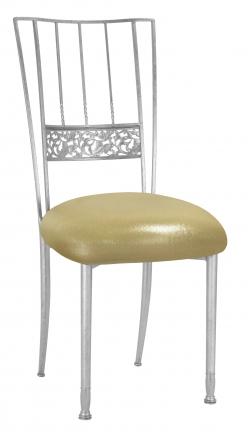Silver Bella Fleur with Metallic Gold Stretch Knit Cushion (2)