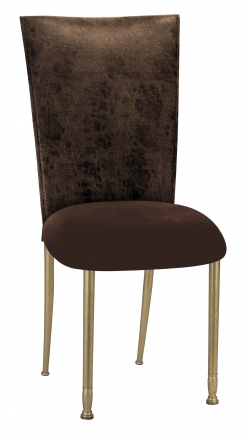 Durango Chocolate Leatherette with Chocolate Suede Cushion on Gold Legs (2)