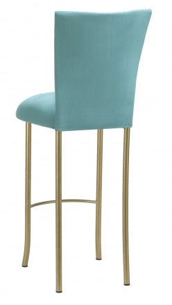 Turquoise Suede Barstool Cover and Cushion on Gold Legs (1)