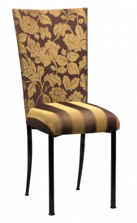 Gold and Brown Damask Chair Cover with Gold and Brown Stripe Cushion with Brown Legs (2)