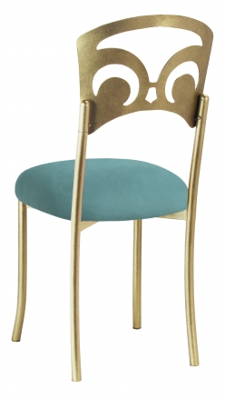 Gold Fleur de Lis with Turquoise Suede Cushion (1)