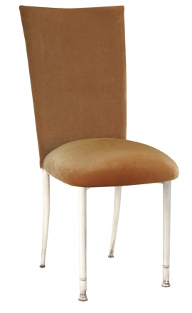 Gold Velvet Chair Cover and Cushion on Ivory Legs (2)