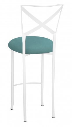 Simply X White Barstool with Turquoise Suede Cushion (1)