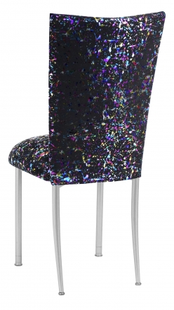 Black Paint Splatter Chair Cover and Cushion on Silver Legs (1)