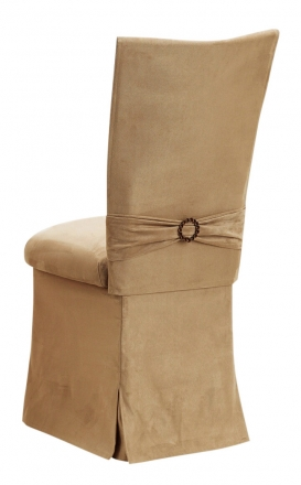 Camel Suede Chair Cover, Jewel Belt, Cushion and Skirt (1)