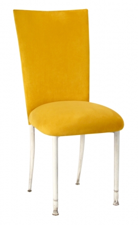 Canary Suede Chair Cover and Cushion on Ivory Legs (2)