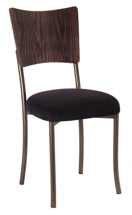 Wood Back Top with Black Suede Cushion on Brown Legs (2)