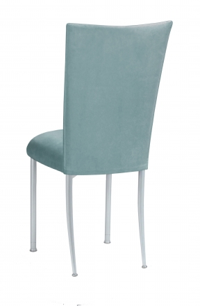 Ice Blue Suede Chair Cover and Cushion on Silver legs (1)