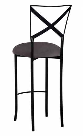 Blak. Barstool with Charcoal Suede Cushion (1)
