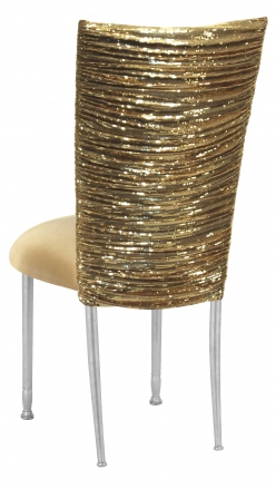 Gold Bedazzled Chair Cover with Gold Stretch Knit Cushion on Silver Legs (1)