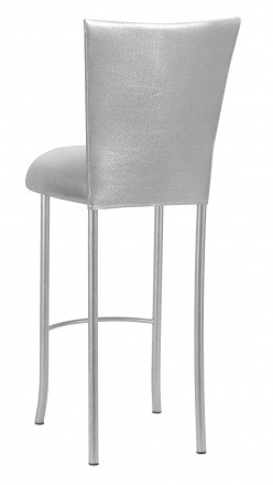 Metallic Silver Stretch Knit Barstool Cover and Cushion on Silver Legs (1)