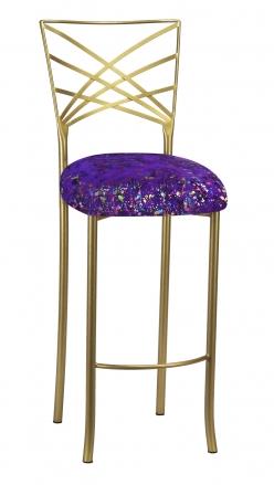 Gold Fanfare Barstool with Purple Paint Splatter Knit Cushion (2)