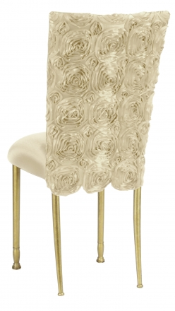 Ivory Rosette Chair Cover with Ivory Stretch Knit Cushion on Gold Legs (1)