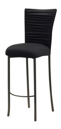 Chloe Black Stretch Knit Barstool Cover with Jewel Band and Cushion on Brown Legs (2)