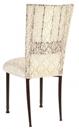 Mahogany Bella Fleur with Ivory Lace Chair Cover and Ivory Lace over Ivory Stretch Knit Cushion (1)