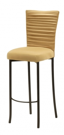 Chloe Gold Stretch Knit Barstool Cover with Jewel Band and Cushion on Brown Legs (2)