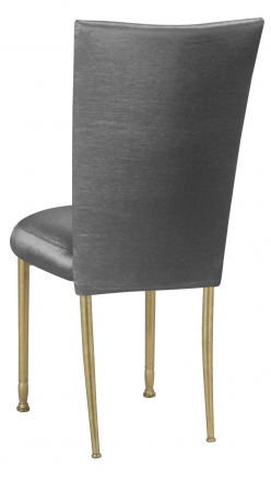 Charcoal Taffeta Chair Cover and Boxed Cushion on Gold Legs (1)