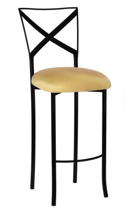 Blak. Barstool with Gold Stretch Knit Cushion (2)
