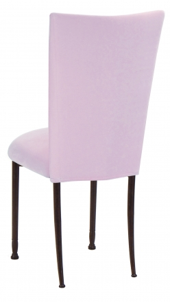 Soft Pink Velvet Chair Cover and Cushion on Mahogany Legs (1)