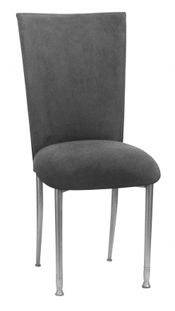 Charcoal Suede Chair Cover and Cushion on Silver Legs (2)
