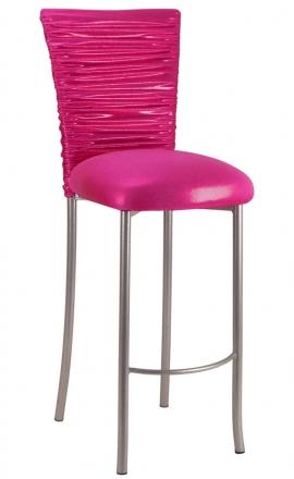Chloe Metallic Fuchsia Stretch Knit Barstool Cover and Cushion on Silver Legs (2)