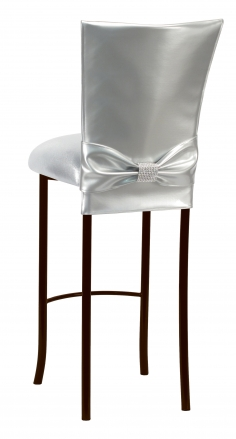 Silver Patent Barstool 3/4 Chair Cover with Rhinestone Accent Belt and Metallic Silver Stretch Knit Cushion on Brown Legs (1)