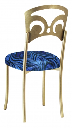 Gold Fleur de Lis with Blue and Purple Peacock Stretch Knit Cushion (1)