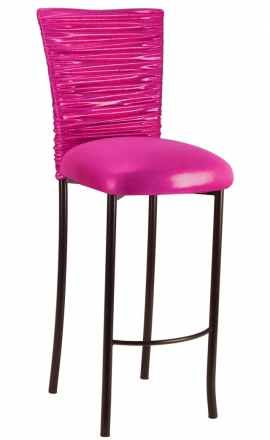 Chloe Metallic Fuchsia Stretch Knit Barstool Cover and Cushion on Brown Legs (2)