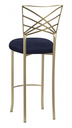 Gold Fanfare Barstool with Navy Blue Suede (1)