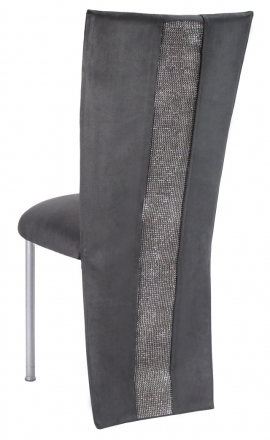 Charcoal Suede Jacket with Rhinestone Center and Cushion on Silver Legs (1)