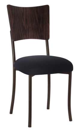 Wood Back Top with Black Velvet Cushion on Brown Legs (2)