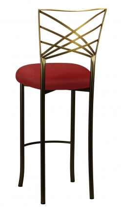 Two Tone Fanfare Barstool with Red Velvet Cushion (1)